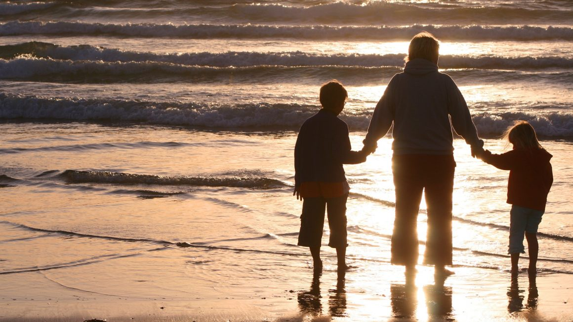 Parent Kids Sunset Beach